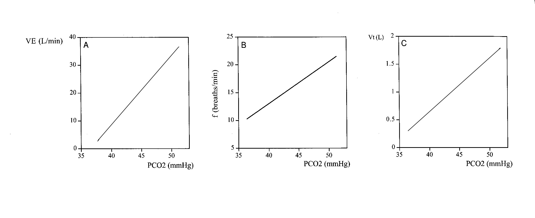 relationship between minute ventilation breathing frequency and tidal volume